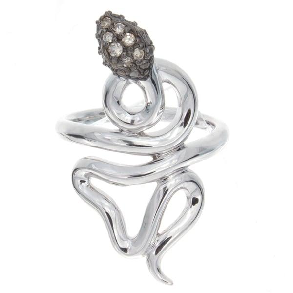 Sterling Silver 1/10ct TDW Diamond Snake Ring