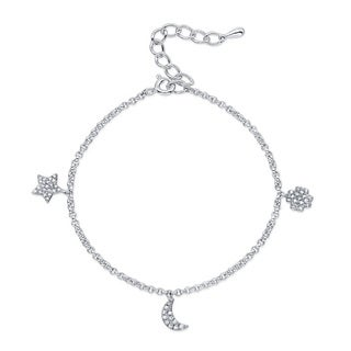 Sterling Silver 1/4ct TDW Diamond Celestial Adjustable Charm Bracelet (J-K, I2-I3)