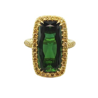18k Yellow Gold Green Tourmaline and 1 1/3ct TDW Fancy Yellow Diamond Ring