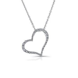 Sterling Silver 1/4ct TDW Diamond Slanted Heart Pendant