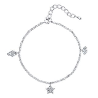 Sterling Silver 1/4ct TDW Adjustable Diamond Hamsa, Evil Eye and Star Charm Bracelet