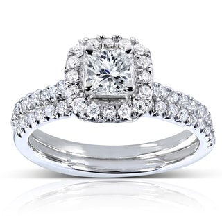 Annello 14k White Gold 7/8ct TDW Princess and Round-cut Halo Diamond Bridal Set (H-I, I1-I2)