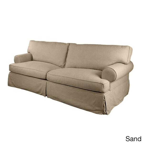 London Slipcovered Premium Linen Sofa Overstock Shopping Great Deals On Sofas Loveseats