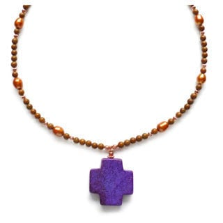 Every Morning Design Purple Turquoise Cross On Jasper Necklace