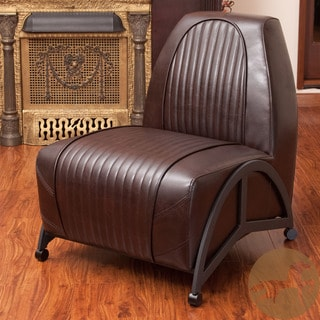 Christopher Knight Home Baldwin Brown Leather Slipper Chair
