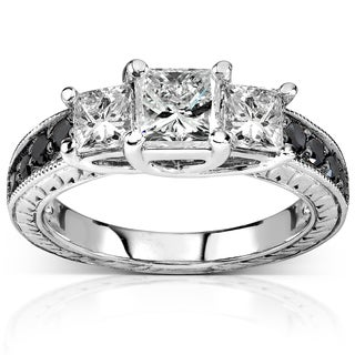Annello 14k White Gold 1 3/8ct TDW Black and White 3-Stone Diamond Engagement Ring (H-I, I1-I2)