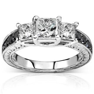 Annello 14k White Gold 1 3/8ct TDW Black and White 3-Stone Diamond Engagement Ring (H-I, I1-I2)