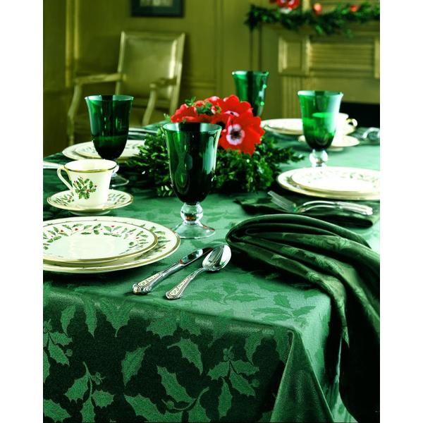 Lenox Holly Damask Green Tablecloth