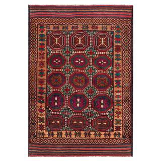 Afghan Hand-knotted Tribal Balouchi Ivory/ Red Wool Rug (3'10 x 5'11)