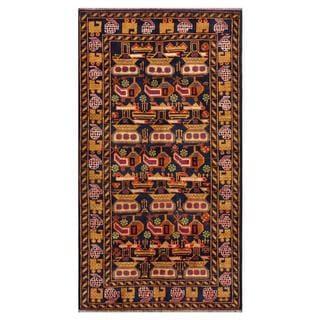 Afghan Hand-knotted Tribal Balouchi 3'3 x 6'1 Blue Wool Area Rug (Afghanistan)