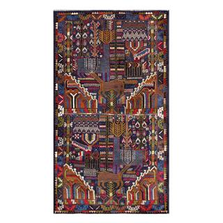 Afghan Hand-knotted Tribal Balouchi Blue/ Ivory Wool Rug (3'7 x 6'4)