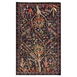 Afghan Hand-knotted Tribal Balouchi Navy/ Gray Wool Rug (3'10 x 6'3)