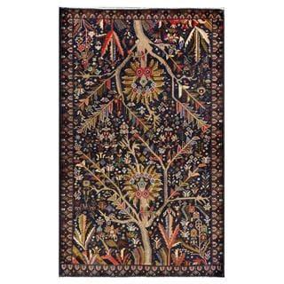 Afghan Hand-knotted Tribal Balouchi Navy/ Gray Wool Rug (3'10 x 6'3)