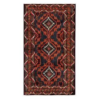 Afghan Hand-knotted Tribal Balouchi Navy/ Brown Wool Rug (3'5 x 6'2)