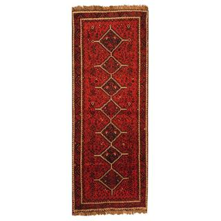 Persian Hand-knotted Shiraz Red/ Burgundy Wool Rug (3'9 x 10')