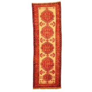 Antique 1950's Persian Hand-knotted Shiraz Ivory/ Red Wool Rug (3'3 x 9'10)