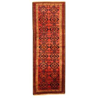 Persian Hand-knotted Hamadan Red/ Ivory Wool Rug (3'6 x 9'9)
