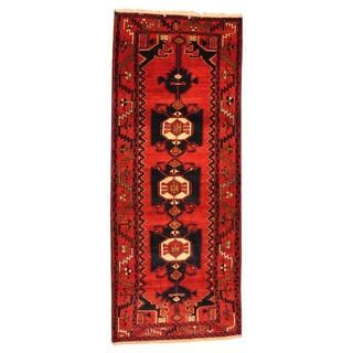 Persian Hand-knotted Hamadan Red/ Navy Wool Rug (3'7 x 8'9)
