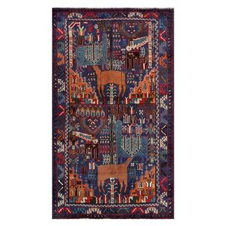 Afghan Hand-knotted Tribal Balouchi Purple/ Orange Wool Rug (3'7 x 6'3)