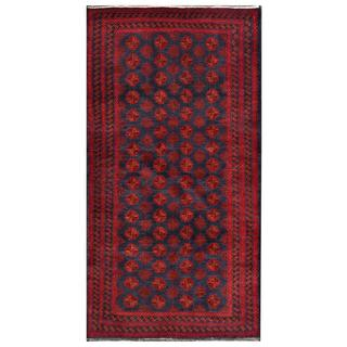 Afghan Hand-knotted Tribal Balouchi Red/ Navy Wool Rug (3'2 x 6'5)