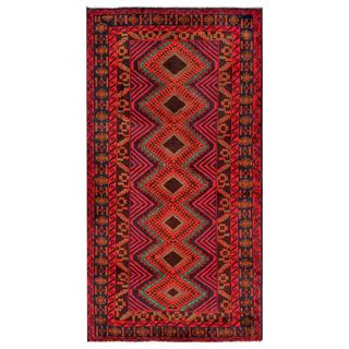Afghan Hand-knotted Tribal Balouchi Pink/ Purple Wool Rug (3'3 x 6'3)