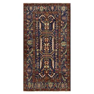 Afghan Hand-knotted Tribal Balouchi Navy/ Brown Wool Rug (3'5 x 6'7)
