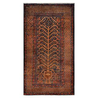 Afghan Hand-knotted Tribal Balouchi Brown/ Navy Wool Rug (3'7 x 6'6)