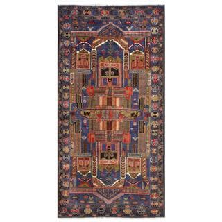 Afghan Hand-knotted Tribal Balouchi Blue/ Brown Wool Rug (3'5 x 7')