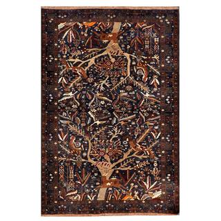 Afghan Hand-knotted Tribal Balouchi Navy/ Brown Wool Rug (4' x 6'1)