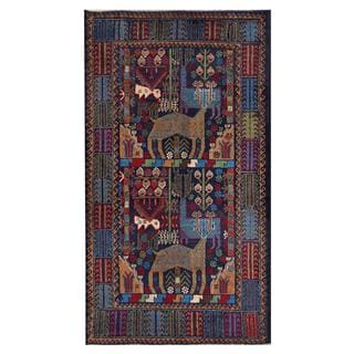 Afghan Hand-knotted Tribal Balouchi Navy/ Red Wool Rug (3'6 x 6'6)