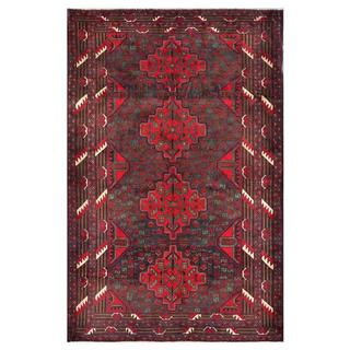 Afghan Hand-knotted Tribal Balouchi Purple/ Red Wool Rug (4' x 6'3)