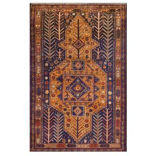 Afghan Hand-knotted Tribal Balouchi Blue/ Gold Wool Rug (3'10 x 5'9)