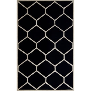 Safavieh Handmade Contemporary Moroccan Cambridge Black/ Ivory Wool Rug (9' x 12')