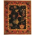 Safavieh Hand-knotted Ancient Weave Black/ Red Wool Rug (6' x 9')