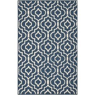 Safavieh Handmade Moroccan Cambridge Navy/ Ivory Wool Rug with Hi/ Lo Construction (9' x 12')