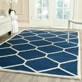 Safavieh Handmade Moroccan Cambridge Navy/ Ivory Geometric Wool Rug (8' x 10')