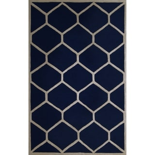Safavieh Handmade Moroccan Cambridge Navy/ Ivory Geometric Wool Rug (9' x 12')