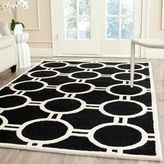 Safavieh Handmade Moroccan Cambridge Black/ Ivory Soft Wool Rug (9' x 12')