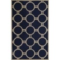 Safavieh Handmade Moroccan Cambridge Navy/ Ivory Circle-pattern Wool Rug (5' x 8')