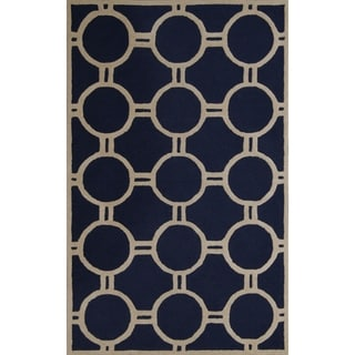 Contemporary Safavieh Handmade Moroccan Cambridge Navy/ Ivory Wool Rug (8' x 10')