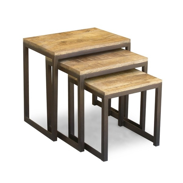 Timbergirl Reclaimed Wood and Iron 3-piece Nest of Tables (India)