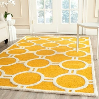 Contemporary Safavieh Handmade Moroccan Cambridge Gold/ Ivory Wool Rug (9' x 12')