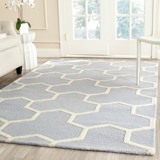 Safavieh Handmade Moroccan Cambridge Light Blue/ Ivory Wool Area Rug (9' x 12')