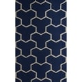 Safavieh Handmade Moroccan Cambridge Navy/ Ivory Y-pattern Wool Rug (5' x 8')