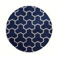 Safavieh Handmade Moroccan Cambridge Geometric-pattern Navy/ Ivory Wool Rug (6' Round)