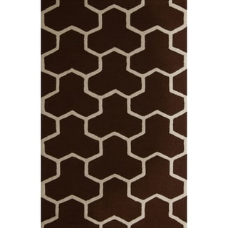Safavieh Handmade Moroccan Cambridge Dark Brown/ Ivory Wool Rectangular Rug (9' x 12')
