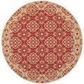 Safavieh Indoor/ Outdoor Courtyard Red/ Cream Rug (7'10 Round)