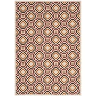 Safavieh Indoor/ Outdoor Veranda Cream/ Red Rug (5'3 x 7'7)