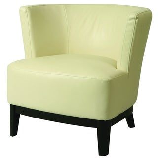 Evanville White Leather Club Chair
