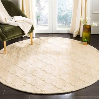 Safavieh Handmade Precious Beige Polyester/ Wool Rug (6' Round)